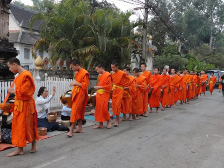 daily morning alms giving to the monks